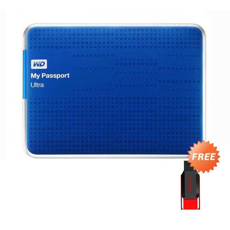 WD My Passport Ultra 2 TB Blue Eksternal Hard Disk [USB 3.0] + Flashdisk