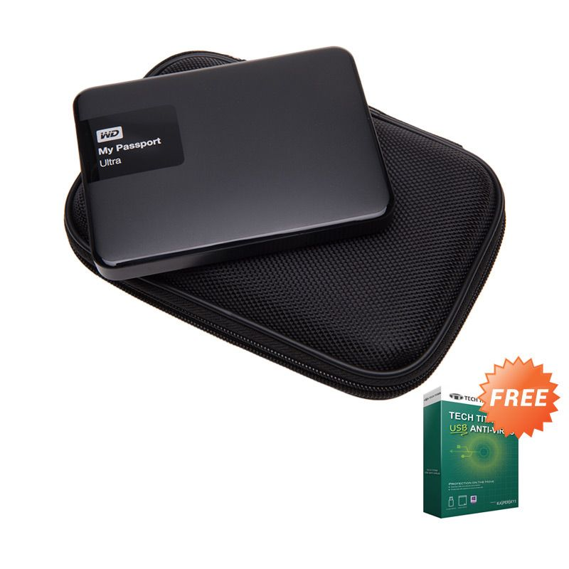 WD My Passport Ultra Black NEW Premium Hard Disk External [1 TB] + Anti Virus + Hard Case Hitam