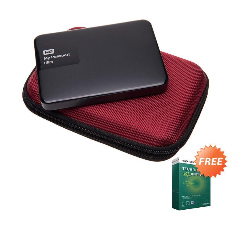 WD My Passport Ultra NEW Premium Black Hard Disk External [1 TB] + Anti Virus + Hard Case Merah