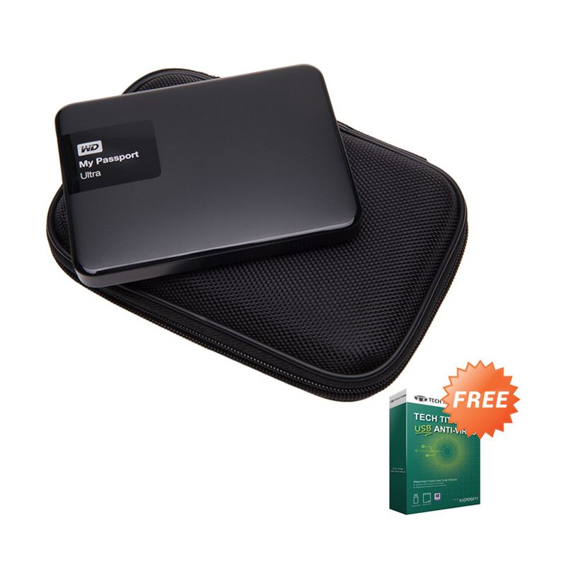 WD My Passport Ultra NEW Premium Black Hard Disk External [2 TB] + Anti Virus + Hard Case Hitam