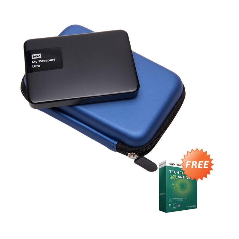 WD My Passport Ultra Black NEW Premium Hard Disk External [2 TB] + Anti Virus + Hard Case Biru