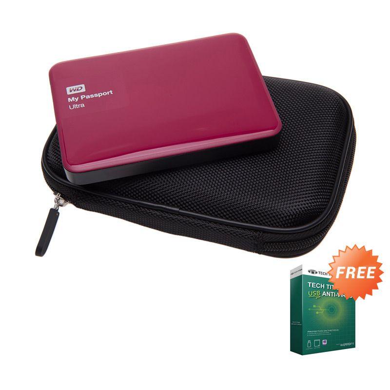 WD My Passport Ultra Red NEW Premium Hard Disk External [2 TB] + Anti Virus + Hard Case Hitam