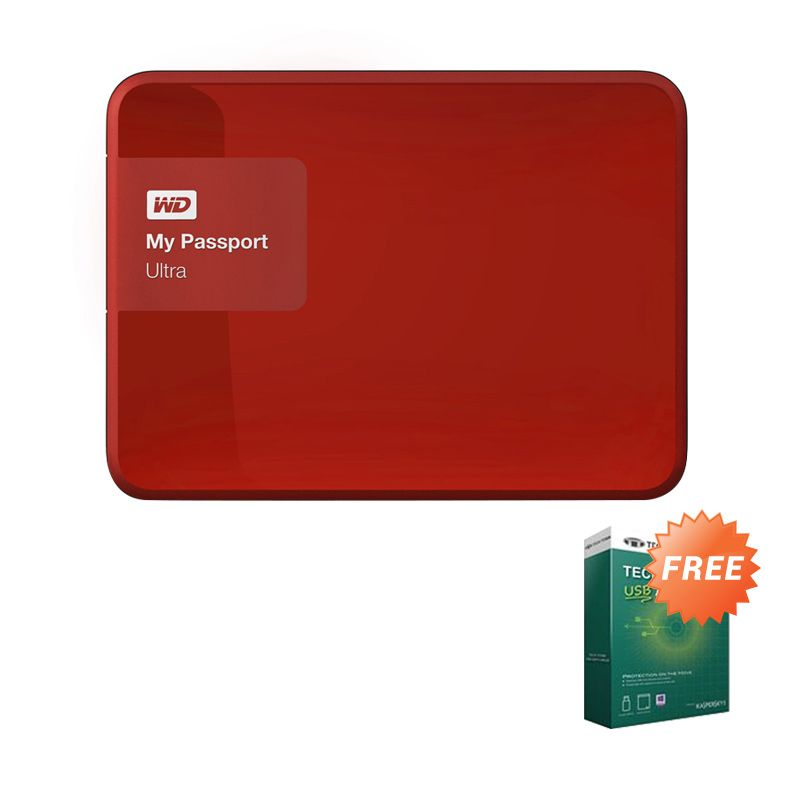 WD My Passport Ultra Red NEW Premium Hard Disk External [2 TB] + Anti Virus + Hard Case Biru