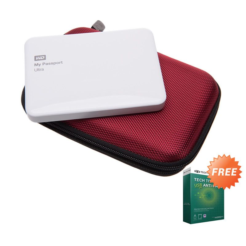 WD My Passport Ultra White NEW Premium Hard Disk External [1 TB] + Anti Virus + Hard Case Merah