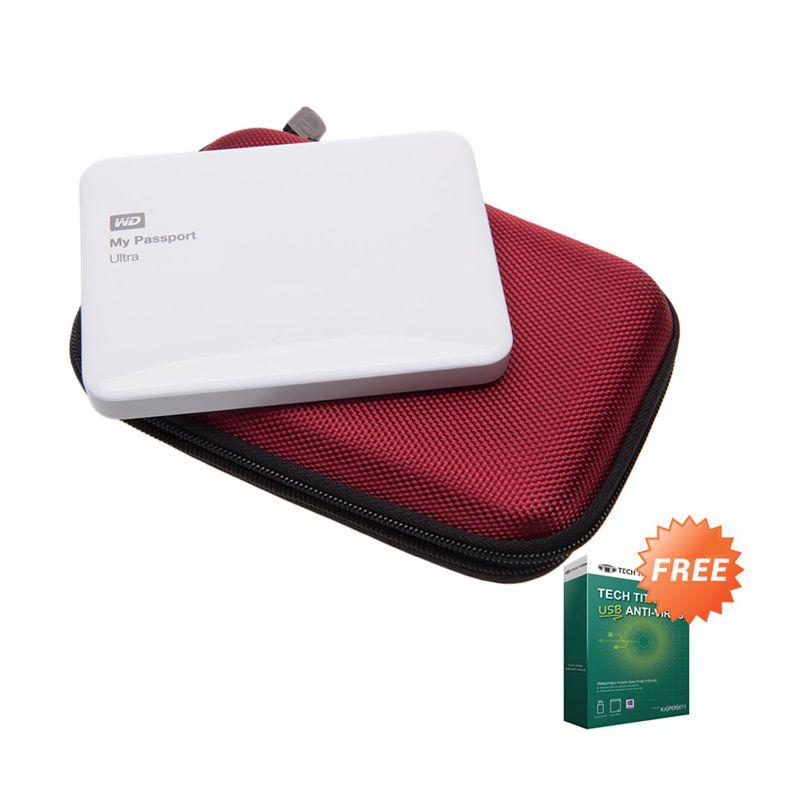 WD My Passport Ultra White NEW Premium Hard Disk External [500 GB] + Anti Virus + Hard Case Merah