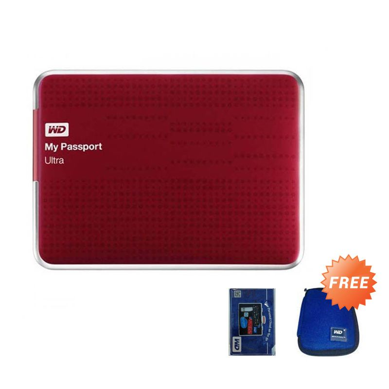WD My Passport Ultra Red Hard disk Eksternal [2 TB] + Pouch + Screen Cleaner