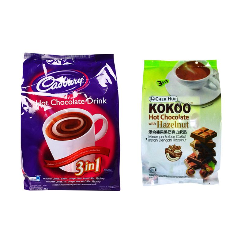 Cadbury Hot Drink Dan ChekHup Koko Chocolate With Hazelnut
