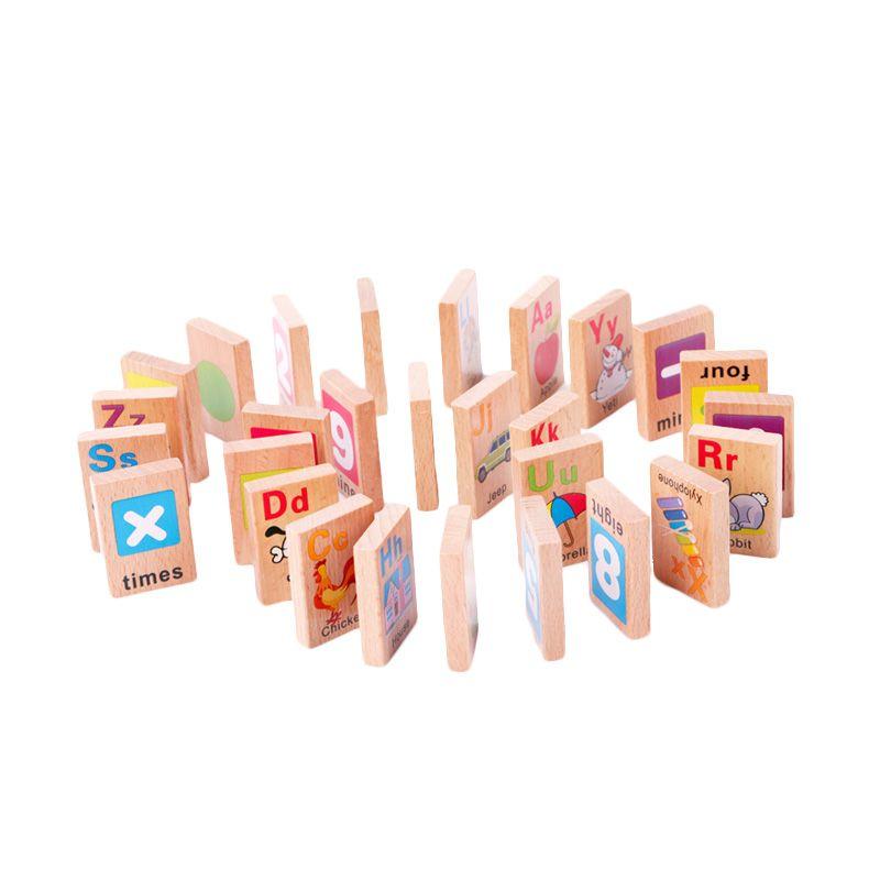 Kids Aptitude Alphabet Numbers Wooden Domino Mainan Anak