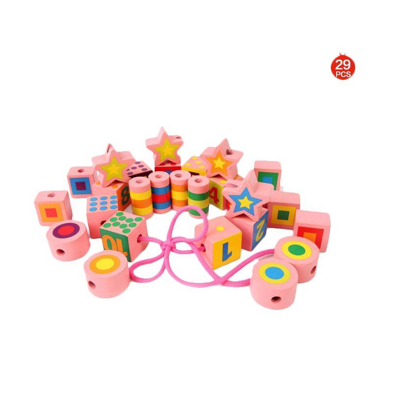 Kids Aptitude Lacing Beads Wooden Blocks Mainan Anak