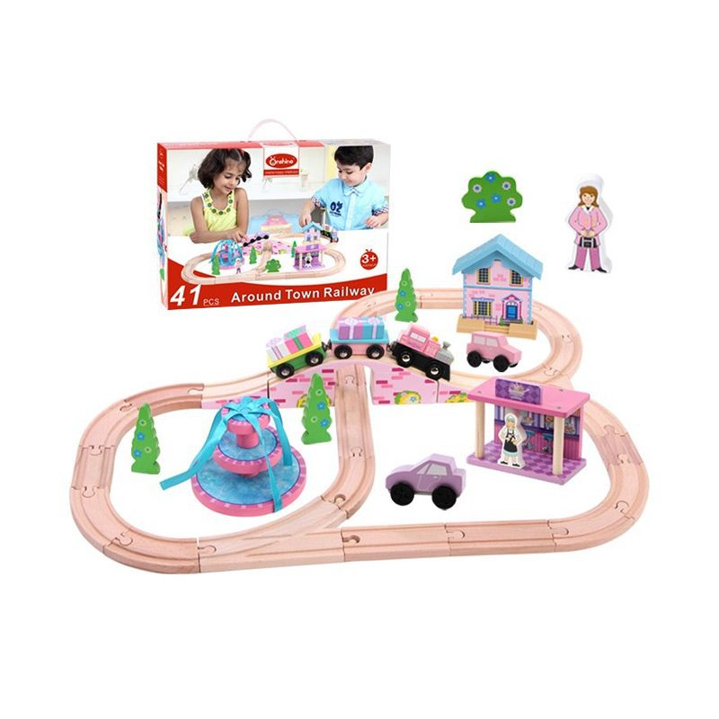 Kids Aptitude Wooden Train Track Mainan Anak [41 Pcs]
