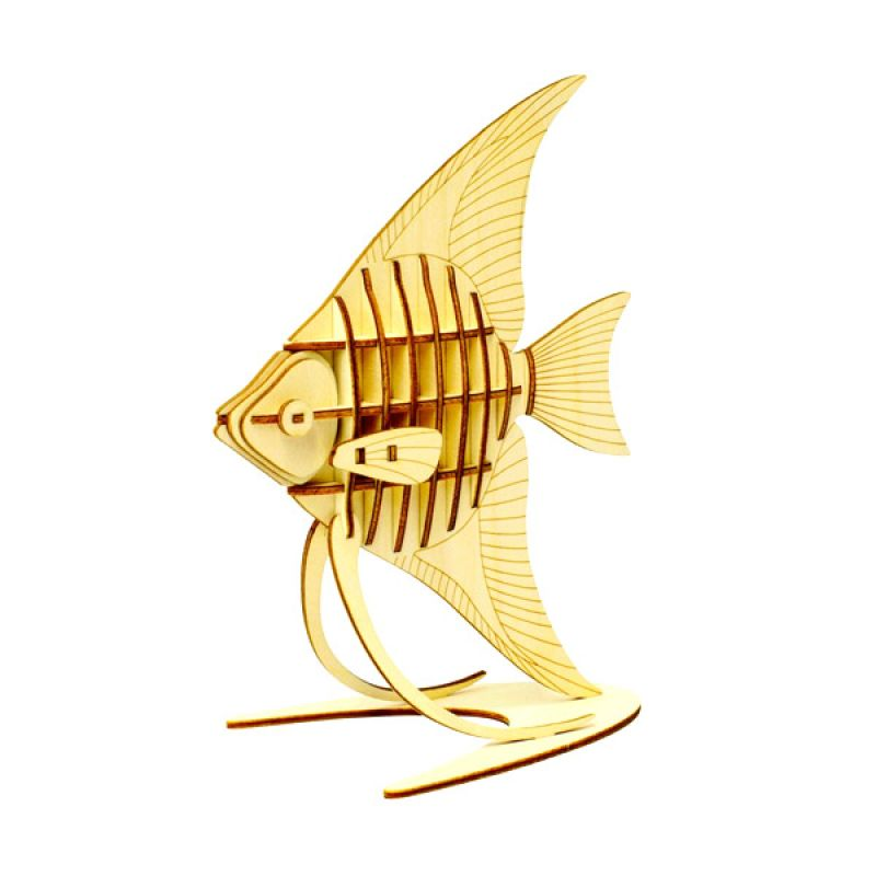 Kigumi 3D Puzzle Kayu Ikan Hias Angelfish Model Kit