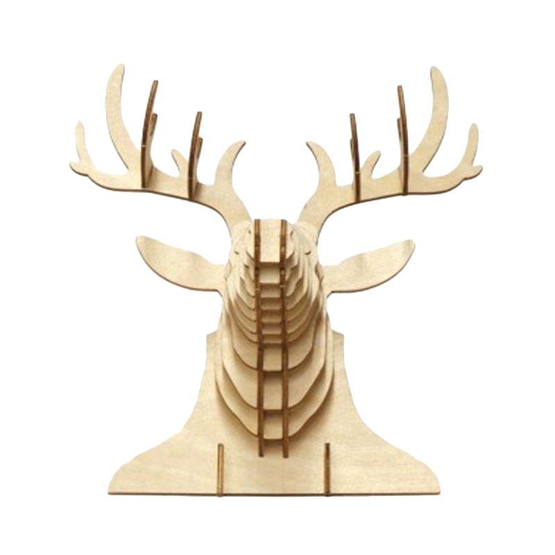 Kigumi 3D Puzzle Kayu Kepala Rusa Model Kit