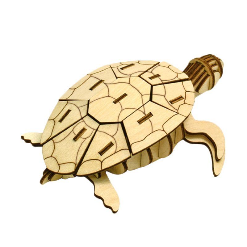 Kigumi 3D Puzzle Kayu Kura-kura Model Kit