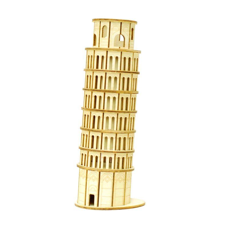Kigumi 3D Puzzle Kayu Menara Pisa Model Kit