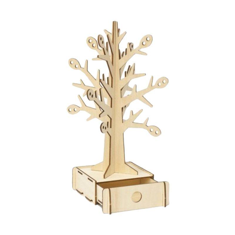 Kigumi 3D Puzzle Kayu Pohon Tempat Perhiasan Model Kit