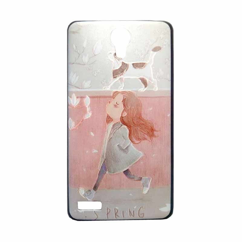 Kimi Custom Pudding Printing Korean Style Casing for Xiaomi Redmi Note - Cute Girl Walking