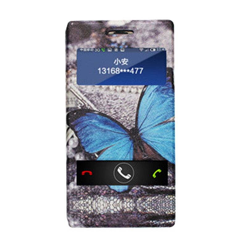 Max Korean Leather Flip Saphire Butterfly Casing for Xiaomi Redmi Note