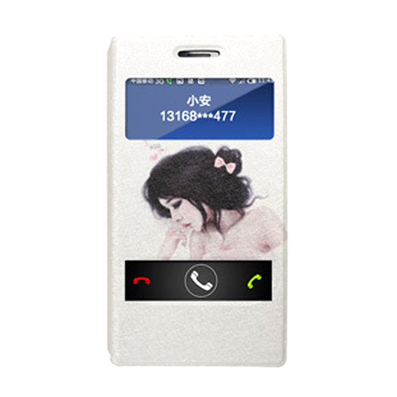 Max Korean Leather Flip White Lady Casing for Xiaomi Redmi Note