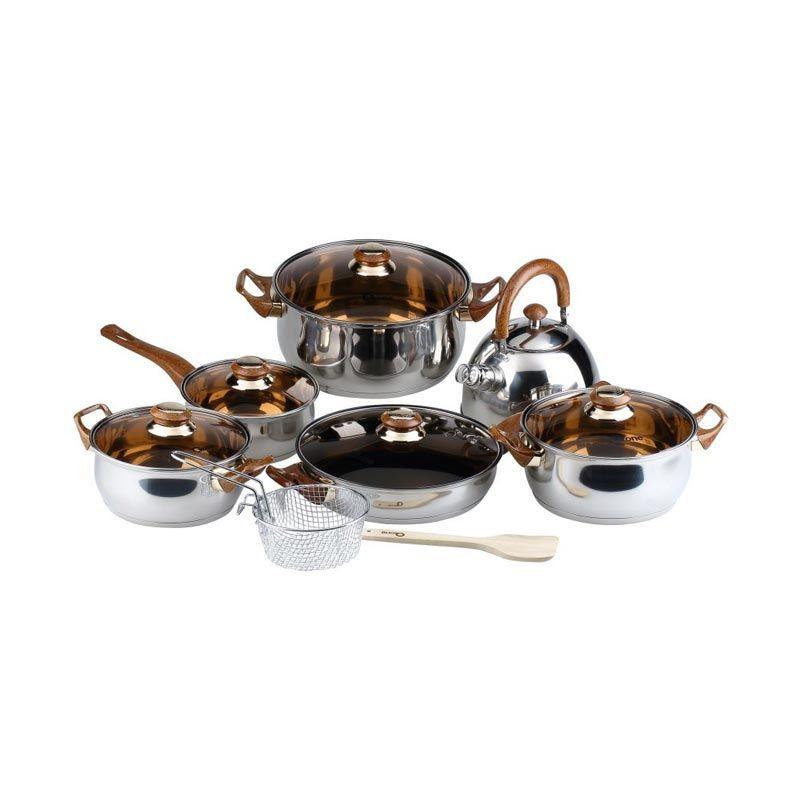 Oxone Eco Cokelat Stainless Steel Cookware Set Alat Masak