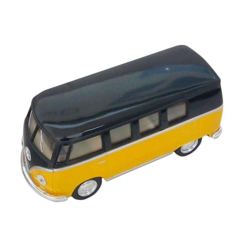 Kinsmart Volkswagen Classical Bus 1962 Black Yellow Diecast [1:36]