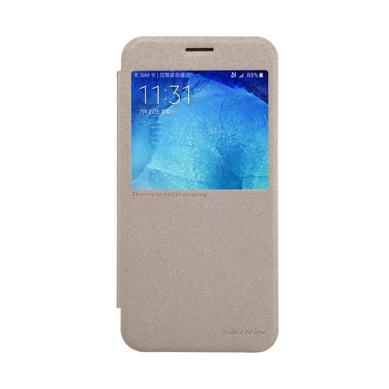 Nillkin Sparkle Leather Gold Flip Casing for Samsung Galaxy A8 [Original]