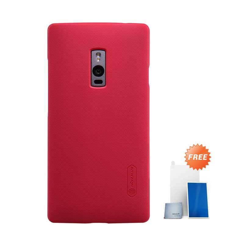Nillkin Super Frosted Shield Hard Case Red Casing for OnePlus 2 + Screen Protector