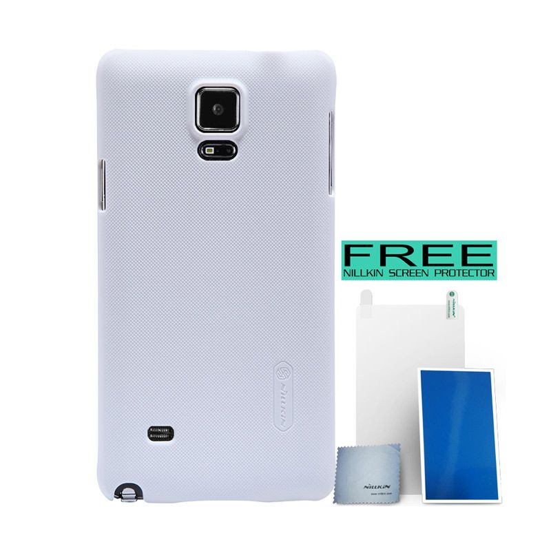 Nillkin Super Frosted Shield White Casing for Samsung Galaxy Note 4 + Bonus