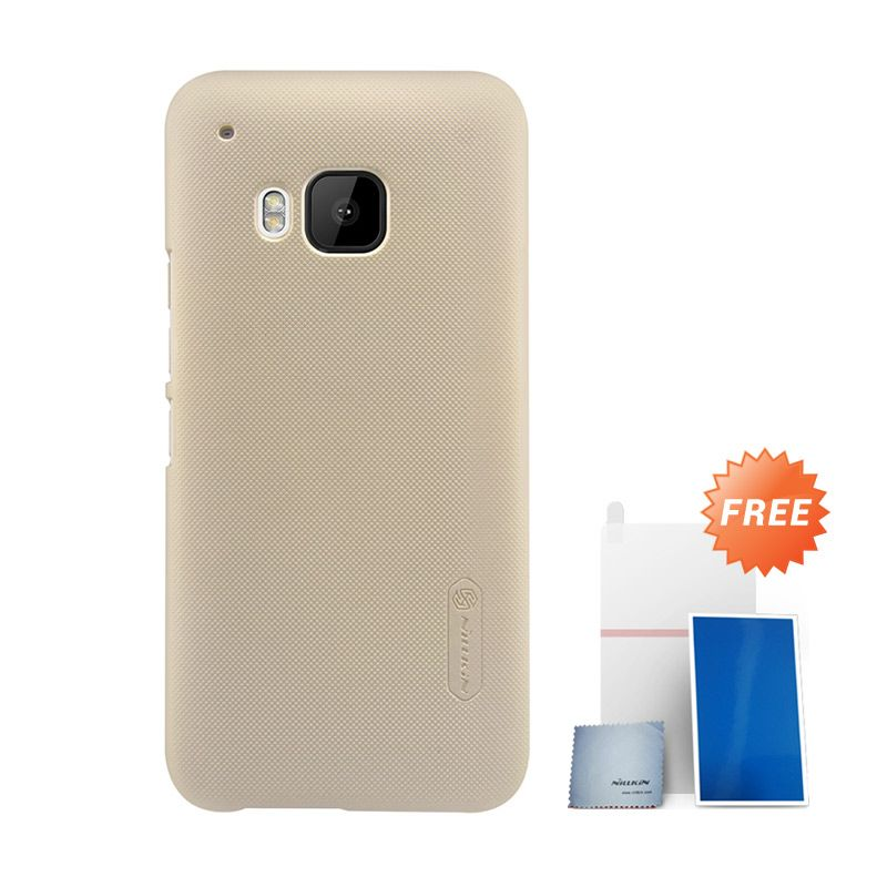 Nillkin Super Frosted Shield Gold Hardcase Casing for HTC ONE M9 + Screen Protector