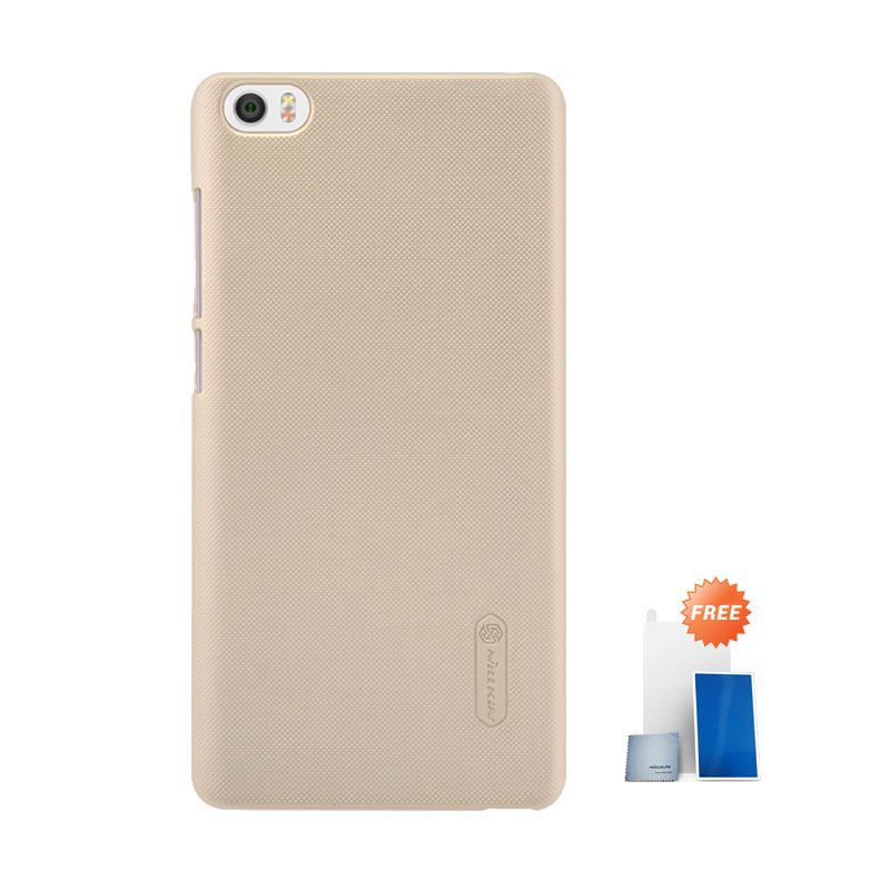 Nillkin Super Frosted Shield Gold Hardcase Casing for Xiaomi Mi Note + Screen Protector