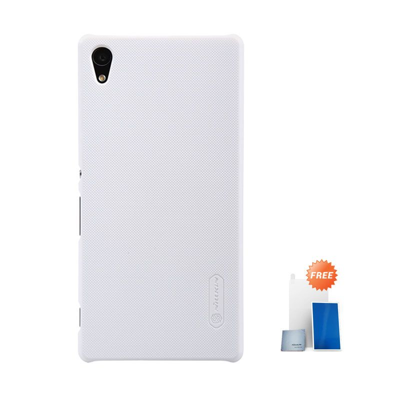 Nillkin Super Frosted Shield White Hardcase Casing for Sony Xperia Z3 Plus or Z4 + Screen Protector