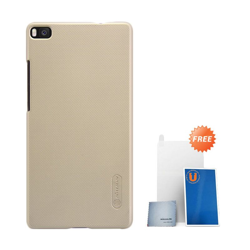 Nillkin Super Frosted Shield Gold Hardcase Casing for Huawei Ascend P8 + Screen Protector