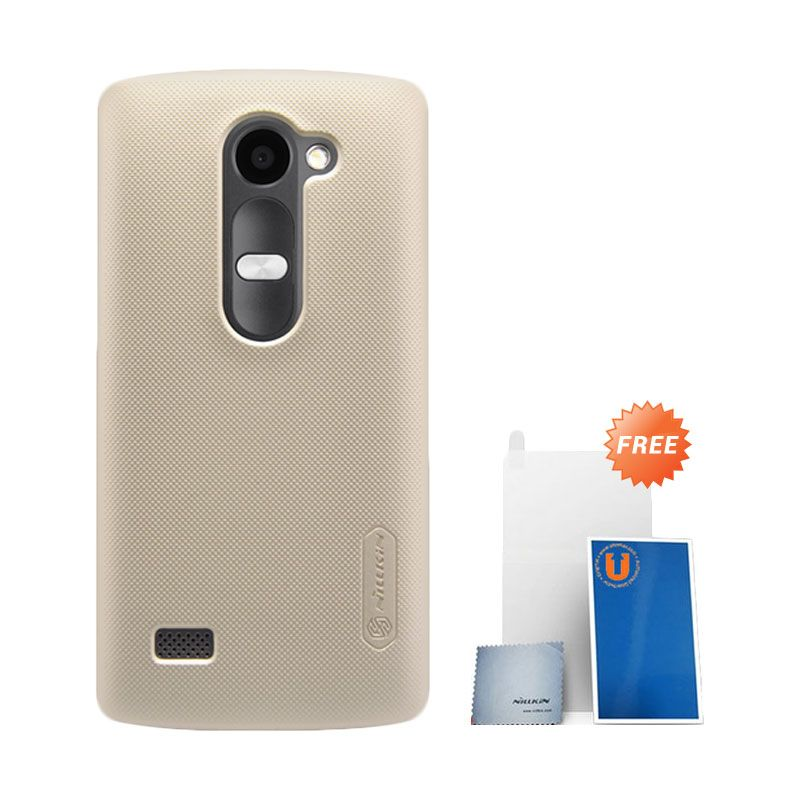 Nillkin Super Frosted Shield Gold Hardcase Casing for LG Leon + Screen Protector