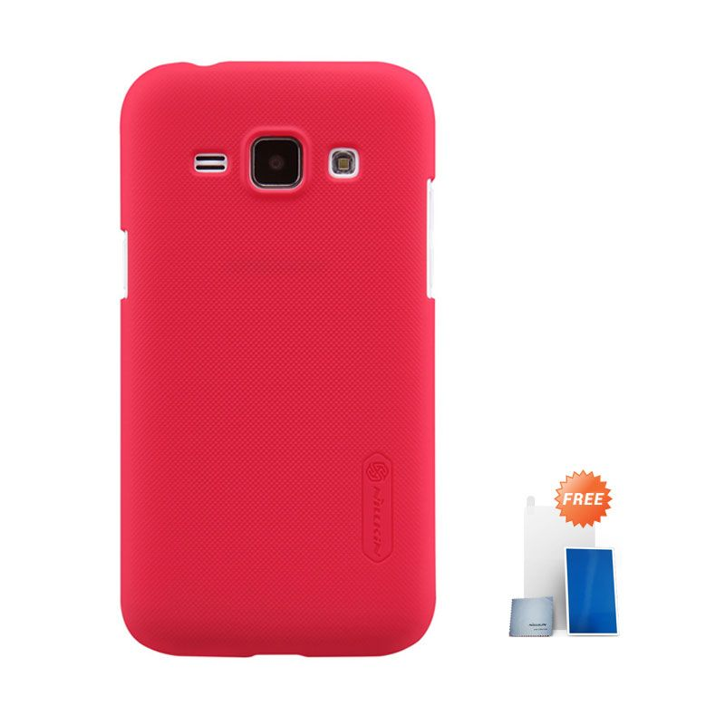 Nillkin Super Frosted Shield Red Hardcase Casing for Samsung Galaxy J1 + Screen Protector
