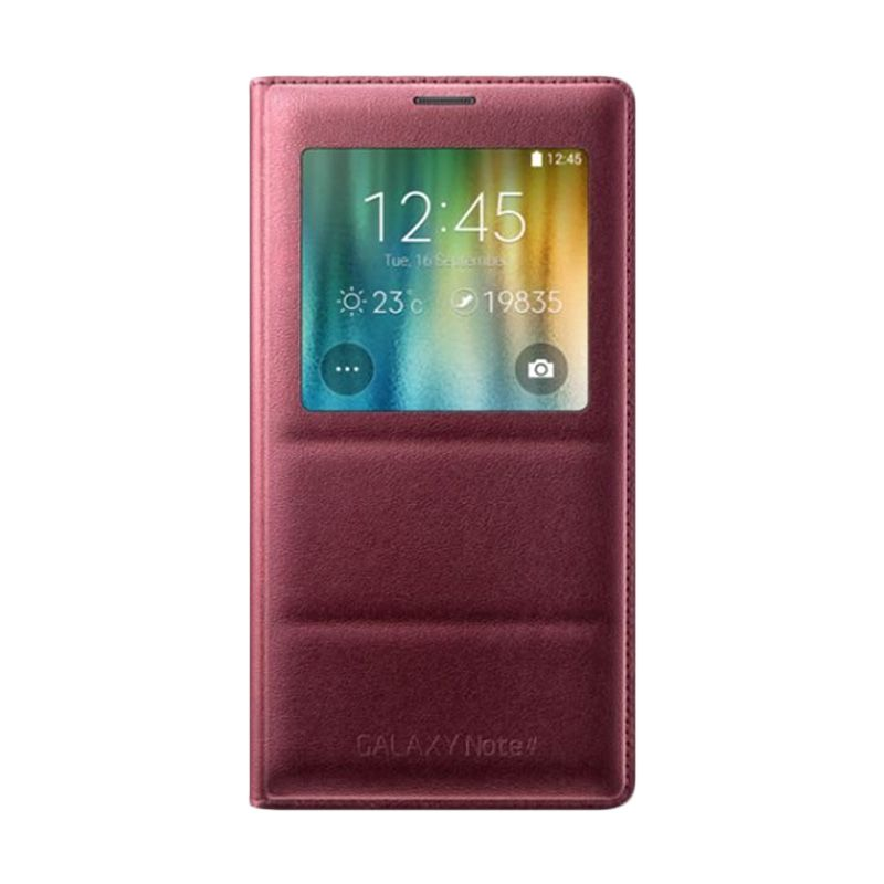 Samsung Original S-View Red Maroon Flip Cover Casing for Samsung Galaxy Note 4