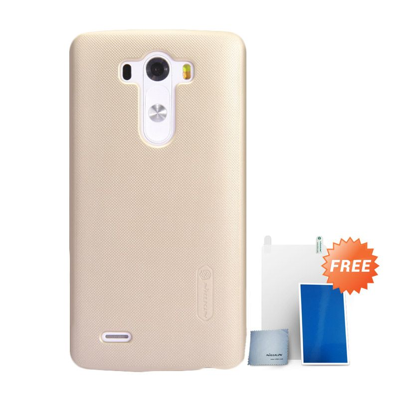 Nillkin Super Frosted Shield Hard Case Gold Casing for LG G3 + Screen Protector