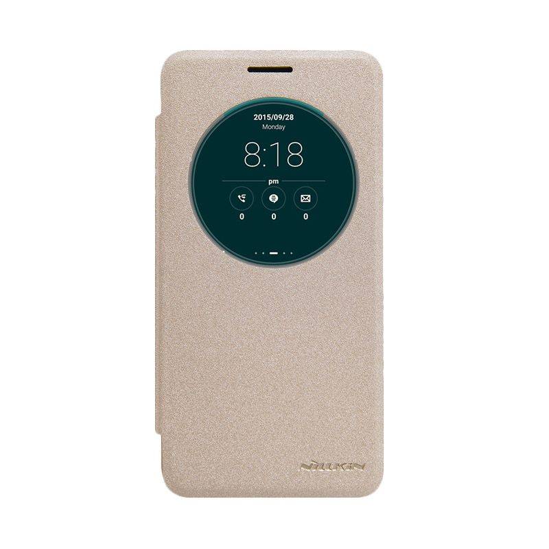 Nillkin Original Sparkle Leather Gold Flip Casing for Asus Zenfone Go ZC500TG
