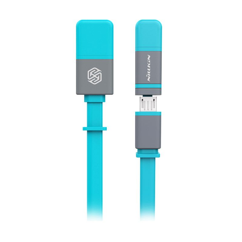 Nillkin Plus 2 in 1 Blue USB Data Cable [iOS 8 Supported/Original]