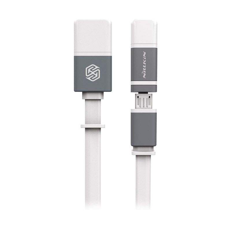 Nillkin Plus 2 in 1 White USB Data Cable [iOS 8 Supported/Original]