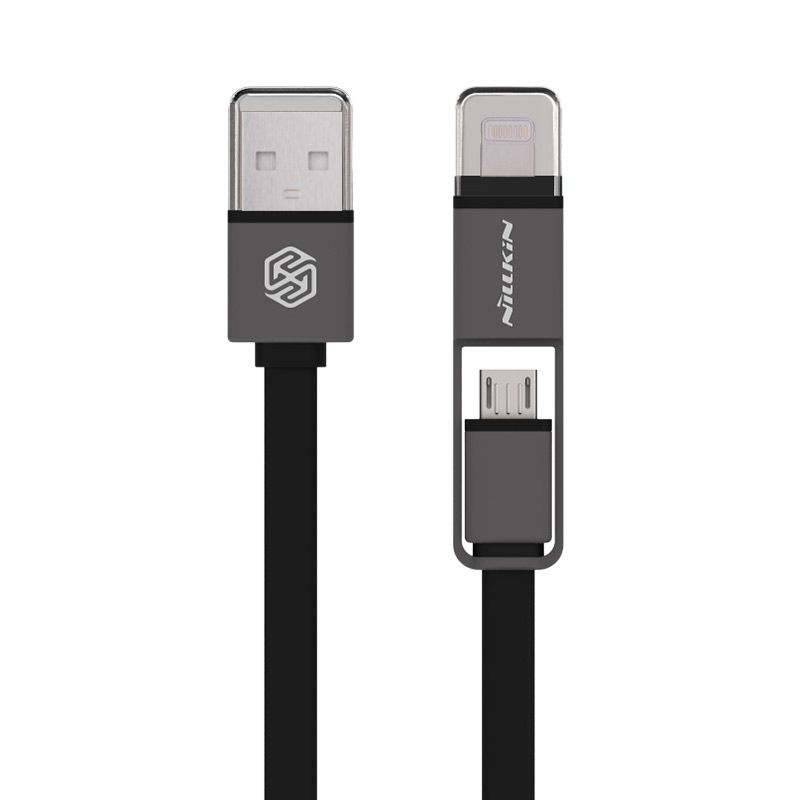 Nillkin Plus 2 in 1 Black USB Data Cable [iOS 8 Supported/Original]