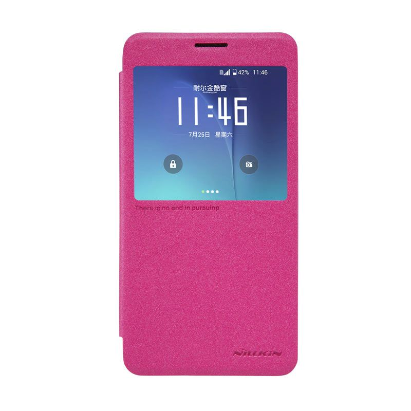 Nillkin Sparkle Pink Flip Leather Casing for Samsung Galaxy Note 5