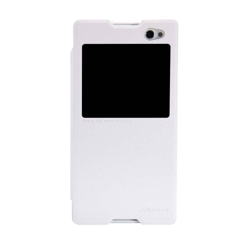 Nillkin Sparkle Flip Leather Putih Casing for Sony Xperia C3