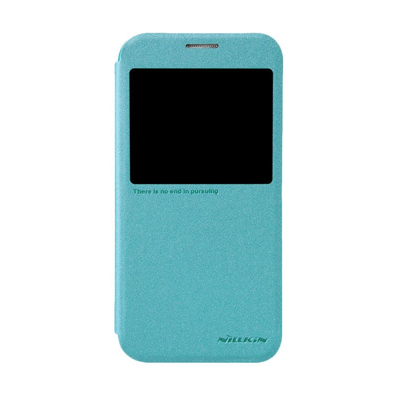 Nillkin Sparkle Leather Blue Flip Cover Casing for Galaxy S6