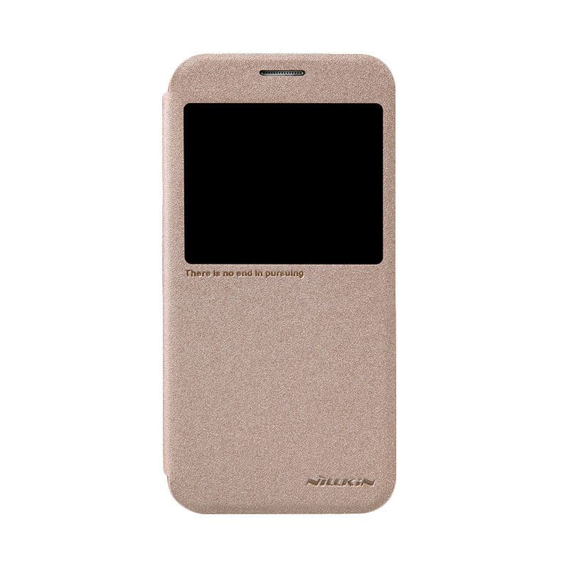Nillkin Sparkle Leather Gold Flip Cover Casing for Samsung Galaxy S6 [Original]