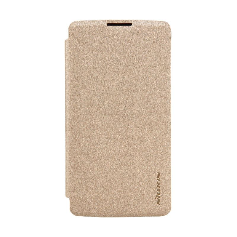 Nillkin Sparkle Leather Gold Flip Cover Casing for LG Leon [Original]
