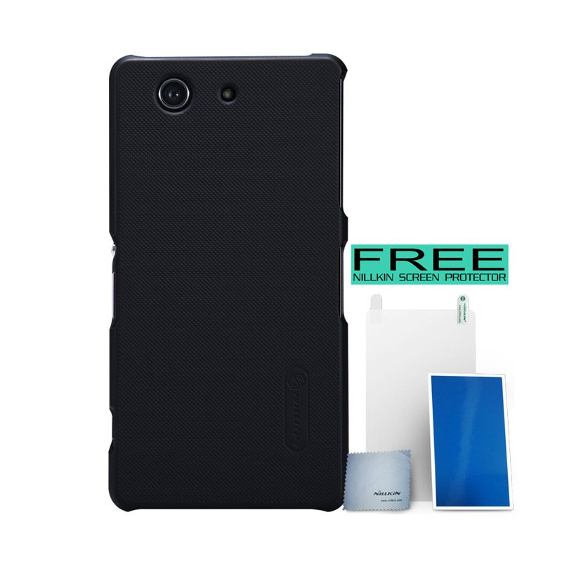 Nillkin Super Frosted Shield Black Casing For Sony Xperia Z3 Compact + Screen Protector