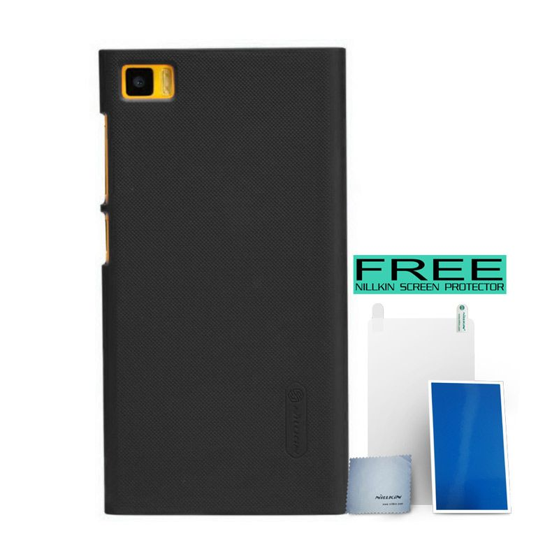 Nillkin Super Frosted Shield Black Casing for Xiaomi Mi3 + Bonus