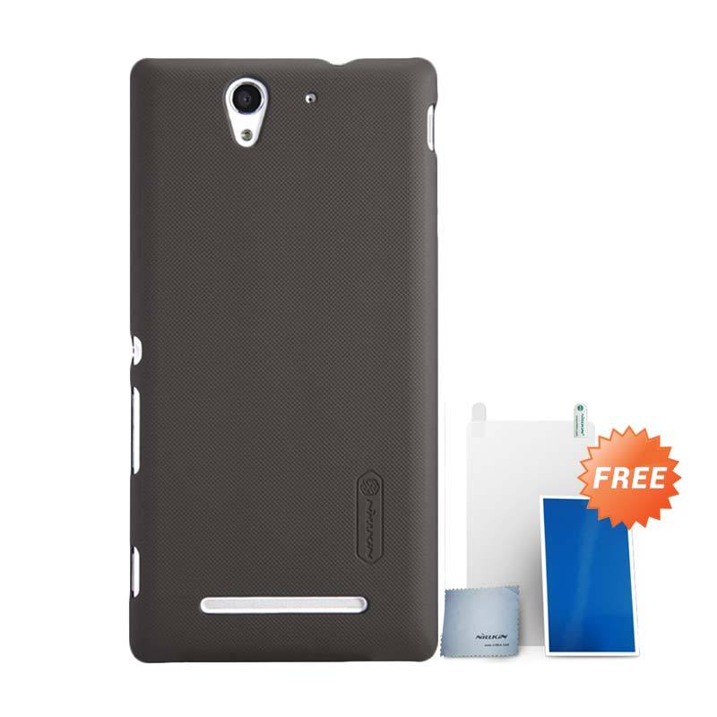 Nillkin Super Frosted Shield Coklat Casing for Sony Xperia C3 + Screen Protector