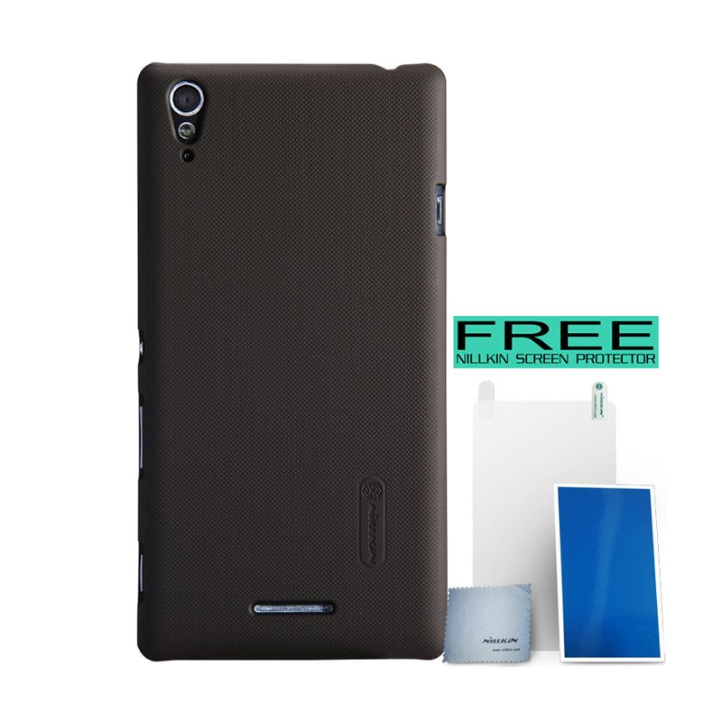 Nillkin Super Frosted Shield Coklat Casing for Sony Xperia T3 + Screen Protector