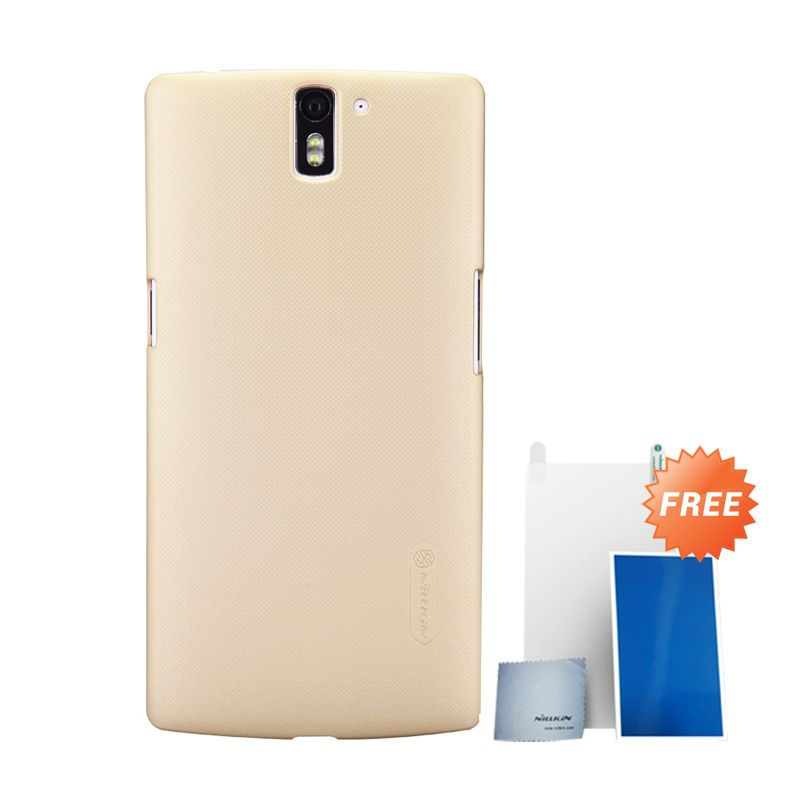 Nillkin Super Frosted Shield Gold Casing for OnePlus One + Screen Protector