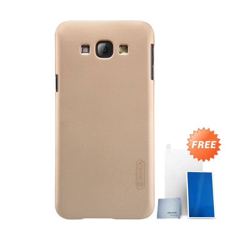 Nillkin Super Frosted Shield Gold Casing for Samsung Galaxy A8 + Screen Protector